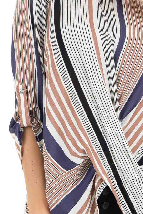 Plum Multicolor Striped Woven Top with Twisted Hem detail