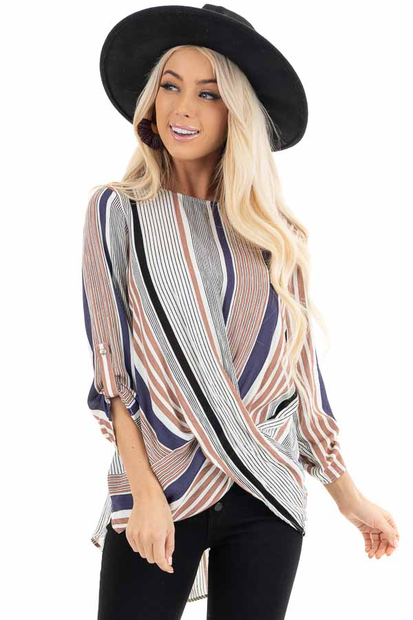 Plum Multicolor Striped Woven Top with Twisted Hem front close up