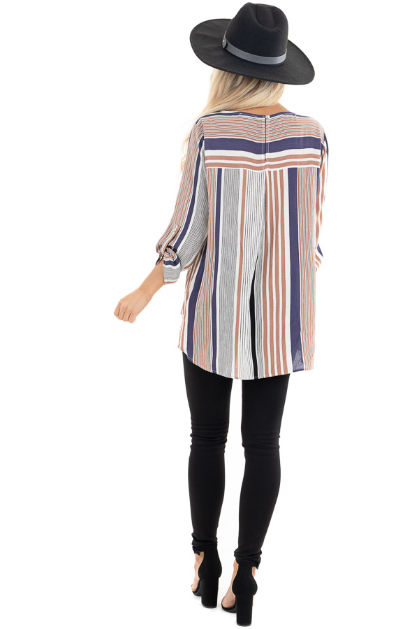 Plum Multicolor Striped Woven Top with Twisted Hem back full body