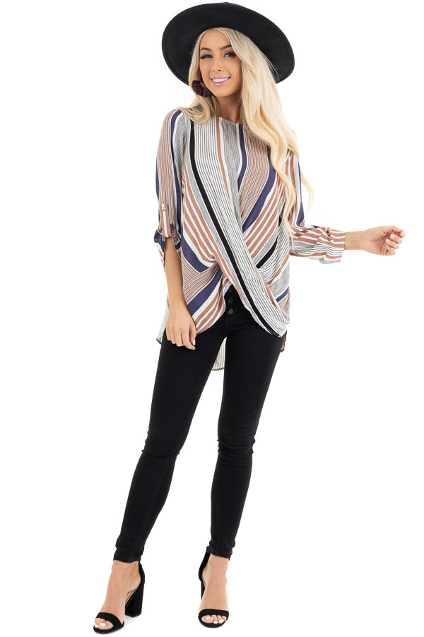 Plum Multicolor Striped Woven Top with Twisted Hem front full body