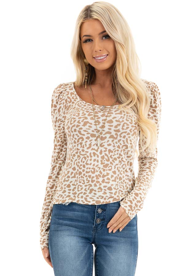 Champagne and Latte Leopard Print Long Sleeve Knit Top front close up