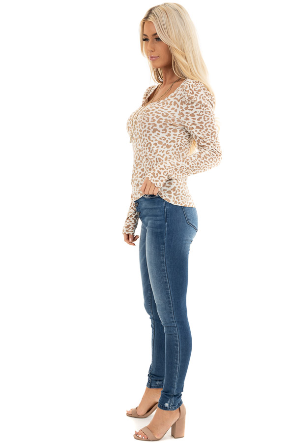 Champagne and Latte Leopard Print Long Sleeve Knit Top side full body