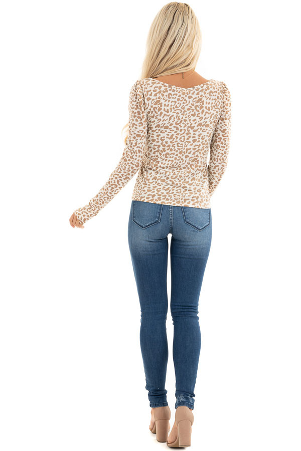 Champagne and Latte Leopard Print Long Sleeve Knit Top back full body