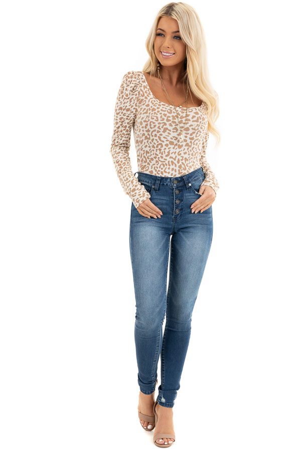 Champagne and Latte Leopard Print Long Sleeve Knit Top front full body