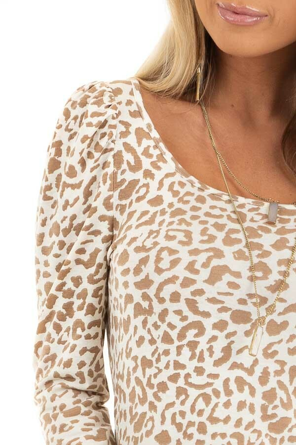 Champagne and Latte Leopard Print Long Sleeve Knit Top detail