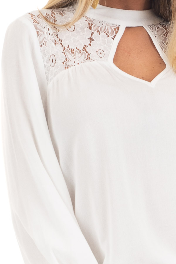 Pearl 3/4 Sleeve Top with Lace Neckline and Keyhole Detail detail