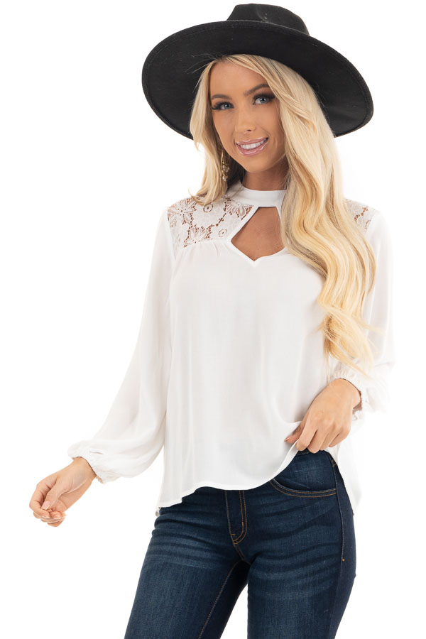 Pearl 3/4 Sleeve Top with Lace Neckline and Keyhole Detail front close up