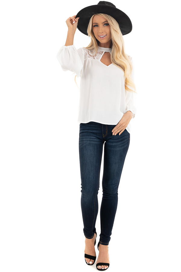Pearl 3/4 Sleeve Top with Lace Neckline and Keyhole Detail front full body