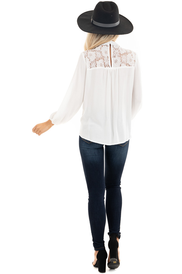 Pearl 3/4 Sleeve Top with Lace Neckline and Keyhole Detail back full body