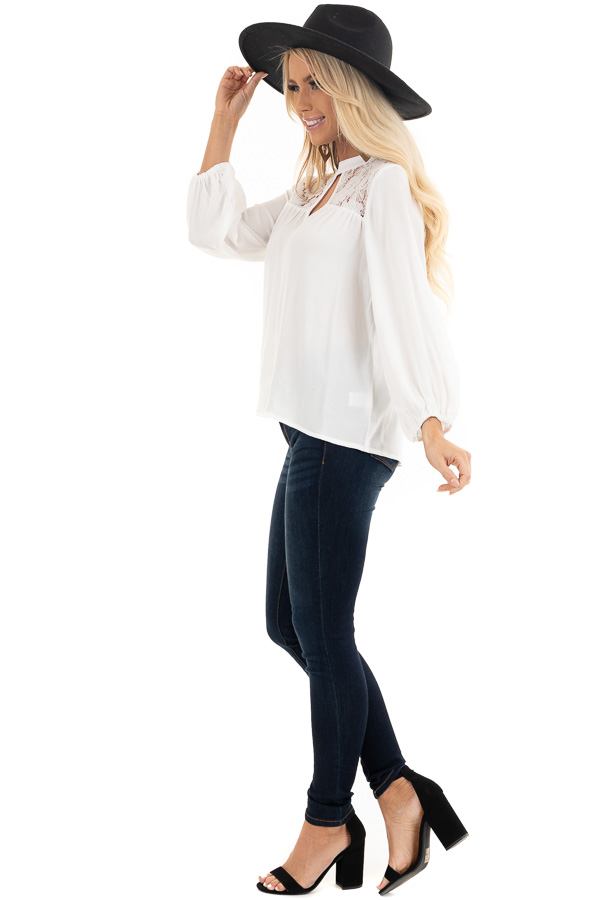 Pearl 3/4 Sleeve Top with Lace Neckline and Keyhole Detail side full body