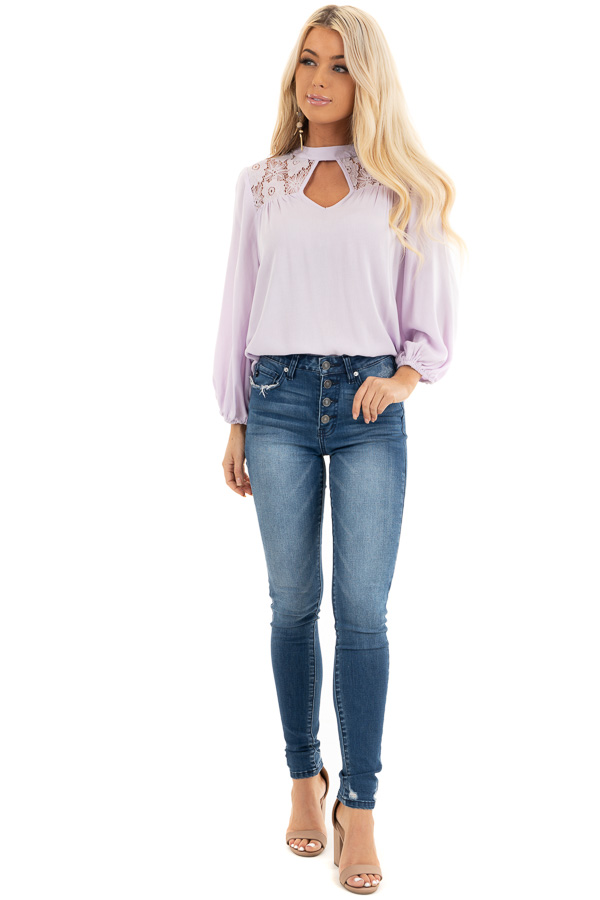 Lilac 3/4 Sleeve Top with Lace Neckline and Keyhole Detail front full body
