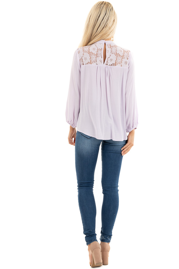Lilac 3/4 Sleeve Top with Lace Neckline and Keyhole Detail back full body