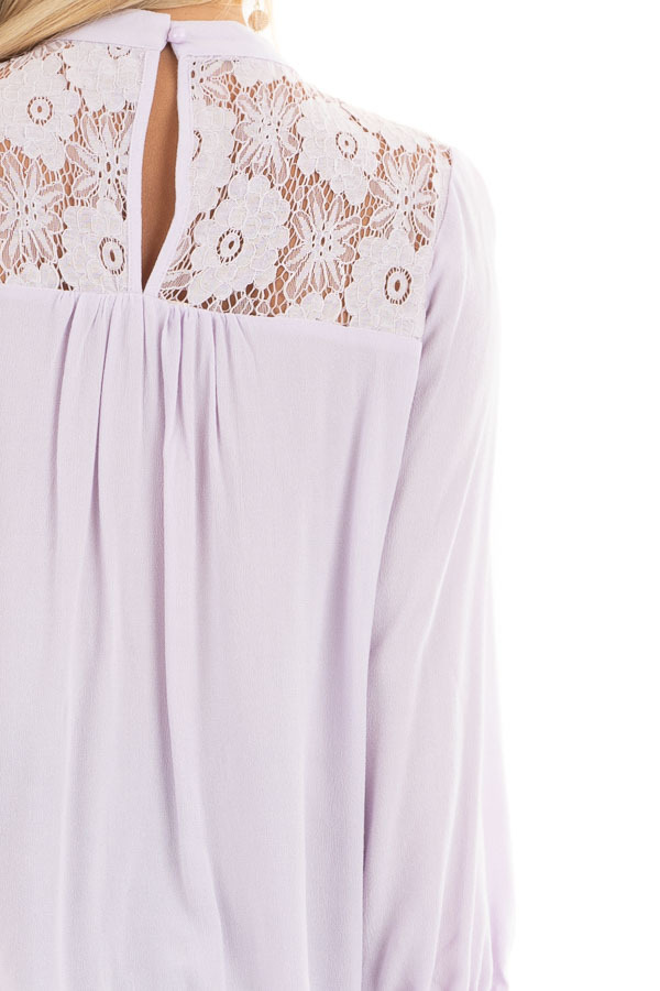 Lilac 3/4 Sleeve Top with Lace Neckline and Keyhole Detail detail