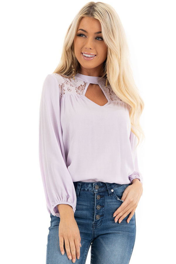 Lilac 3/4 Sleeve Top with Lace Neckline and Keyhole Detail front close up