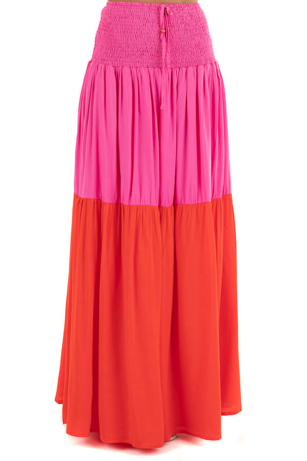 Hot Pink and Red Color Block Convertible Maxi Skirt front view