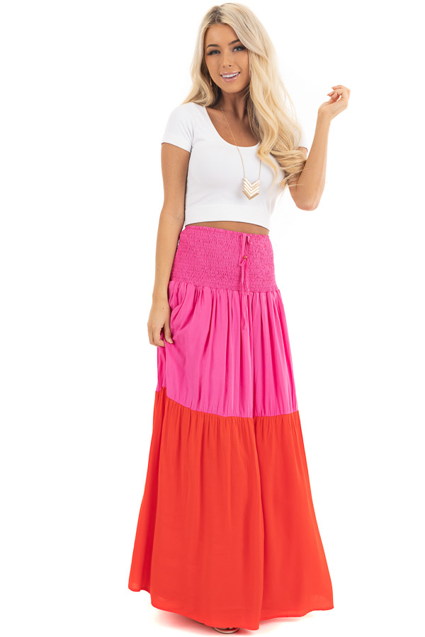 Hot Pink and Red Color Block Convertible Maxi Skirt front full body