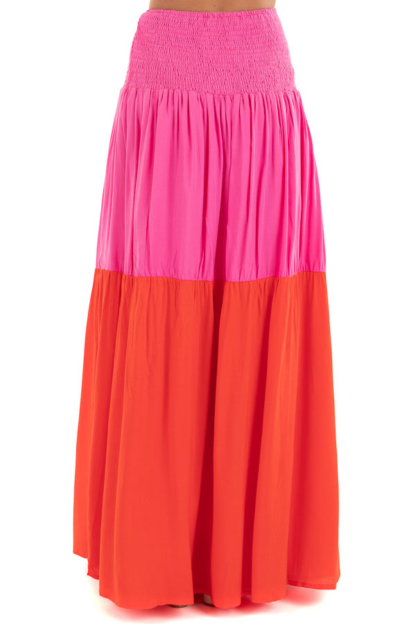 Hot Pink and Red Color Block Convertible Maxi Skirt back view