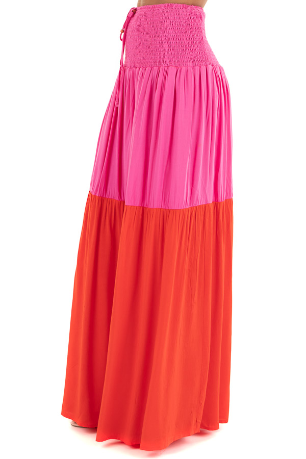 Hot Pink and Red Color Block Convertible Maxi Skirt side view