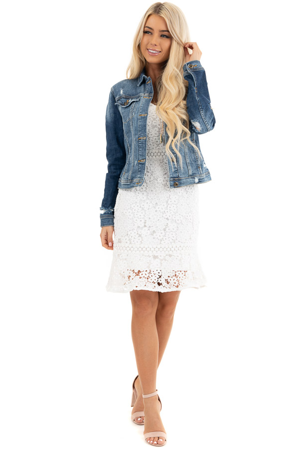 Medium Wash Button Up Denim Jacket with Distressing front full body