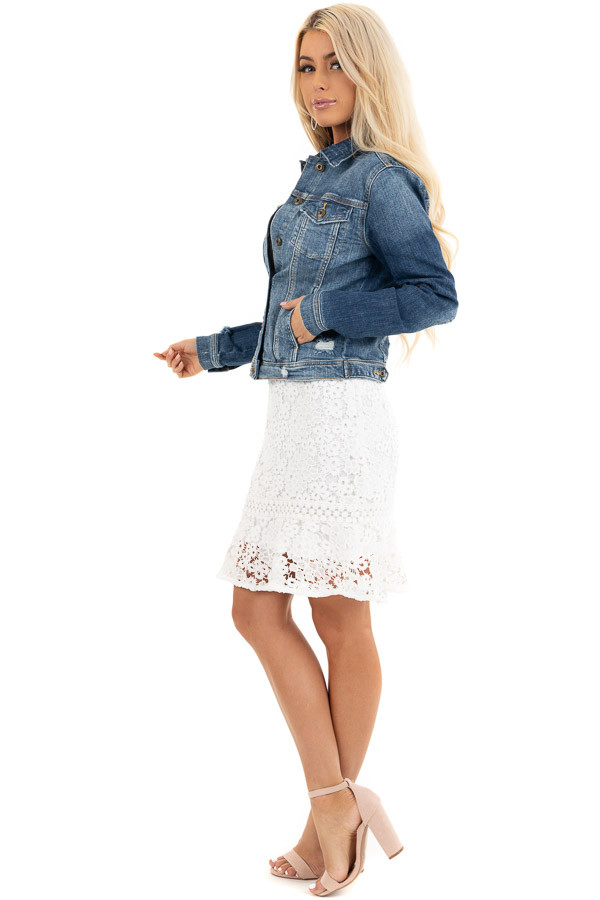 Medium Wash Button Up Denim Jacket with Distressing side full body