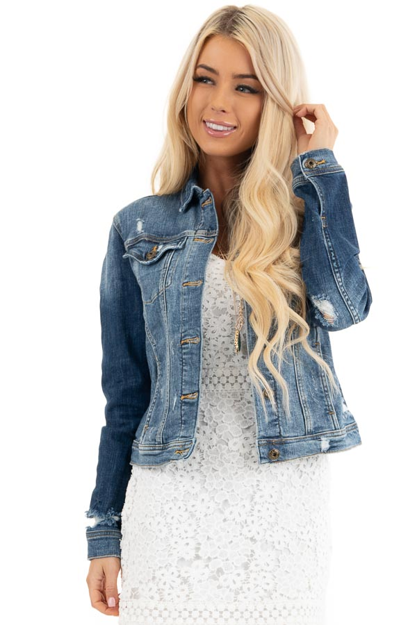 Medium Wash Button Up Denim Jacket with Distressing front close up
