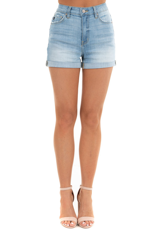 Light Wash High Waisted Denim Shorts with Cuffed Hem front view