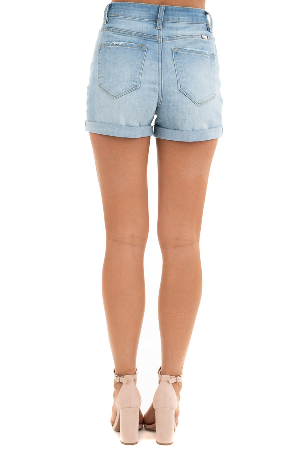 Light Wash High Waisted Denim Shorts with Cuffed Hem back view
