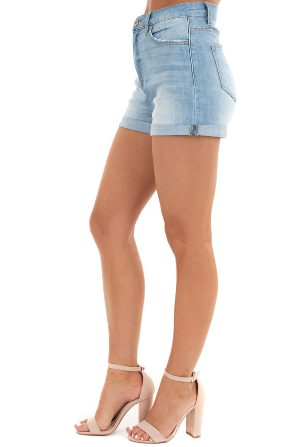 Light Wash High Waisted Denim Shorts with Cuffed Hem side view