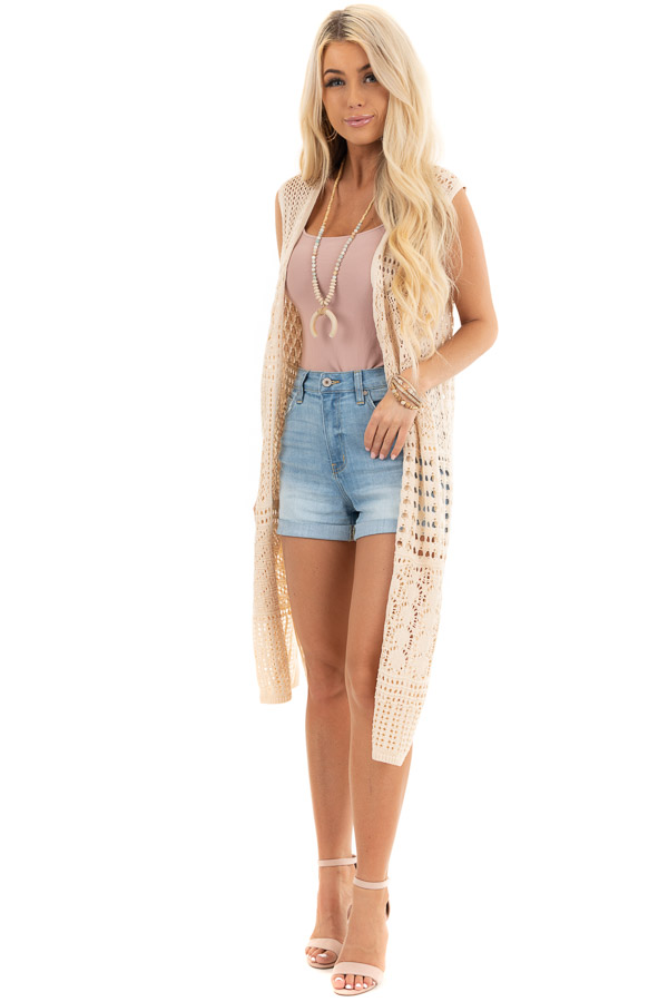 Light Wash High Waisted Denim Shorts with Cuffed Hem front full body