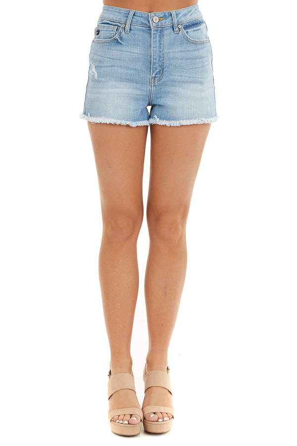 Medium Wash High Rise Denim Shorts with Frayed Detail front view