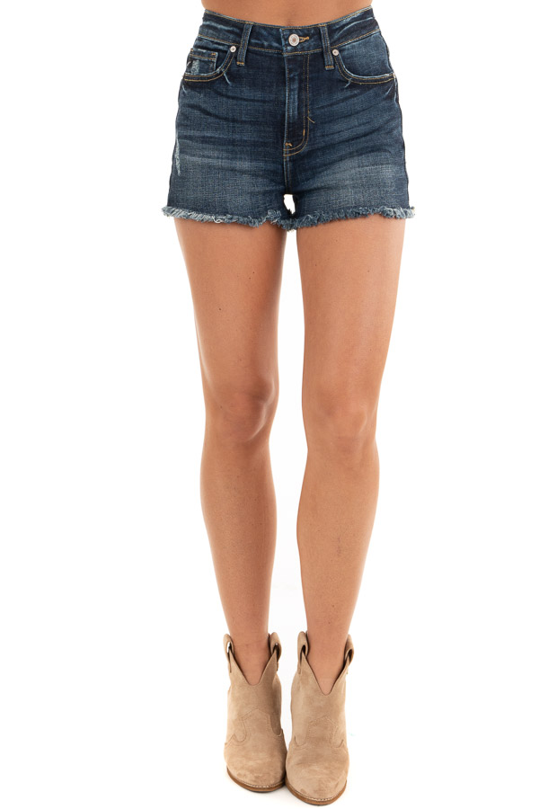 Dark Wash High Rise Denim Shorts with Frayed Detail front view