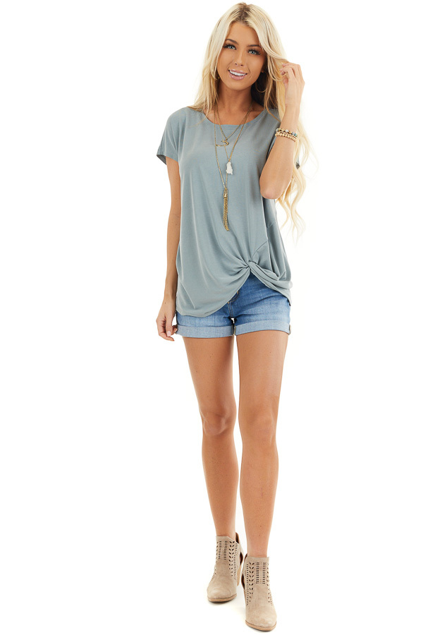 Deep Seafoam Short Sleeve Knit Top with Front Knot front full body
