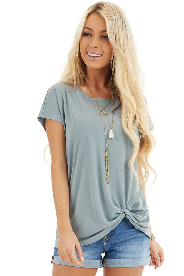 Deep Seafoam Short Sleeve Knit Top with Front Knot front close up