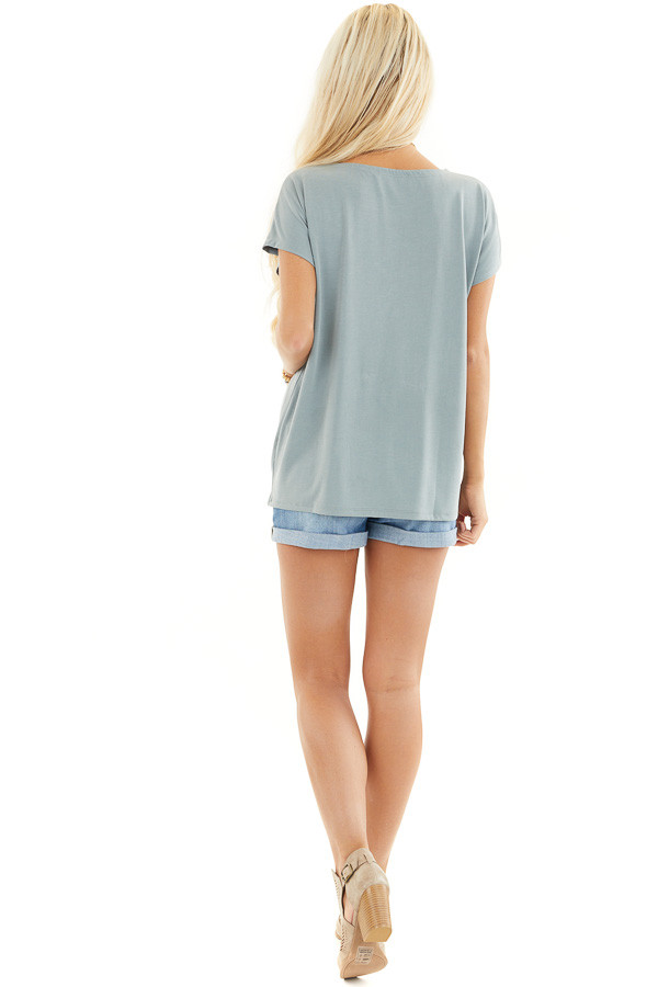 Deep Seafoam Short Sleeve Knit Top with Front Knot back full body