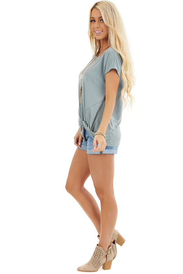 Deep Seafoam Short Sleeve Knit Top with Front Knot side full body