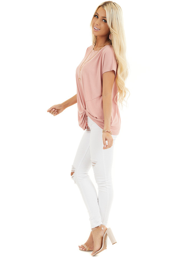 Pale Salmon Short Sleeve Knit Top with Front Knot side full body