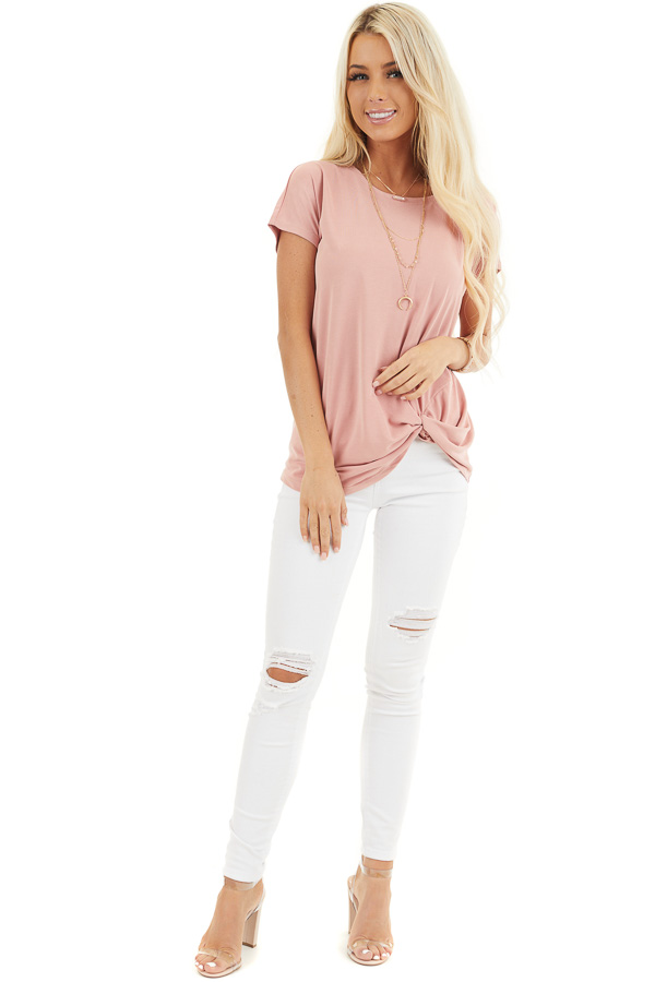 Pale Salmon Short Sleeve Knit Top with Front Knot front full body