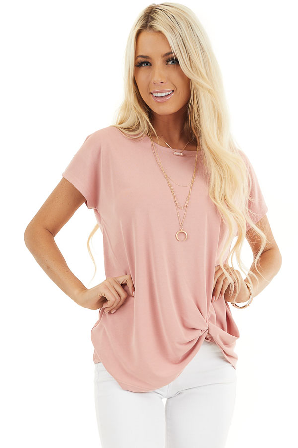 Pale Salmon Short Sleeve Knit Top with Front Knot front close up