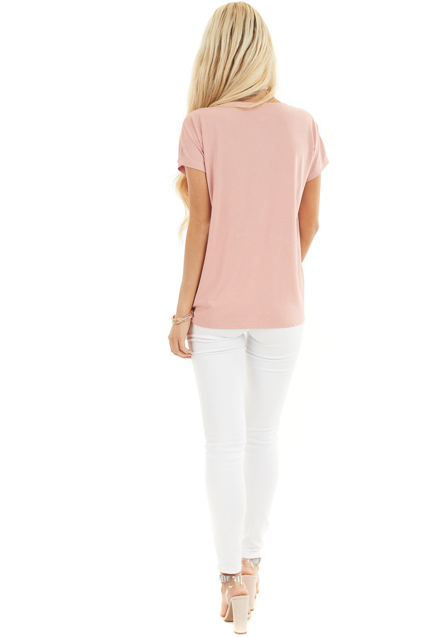 Pale Salmon Short Sleeve Knit Top with Front Knot back full body