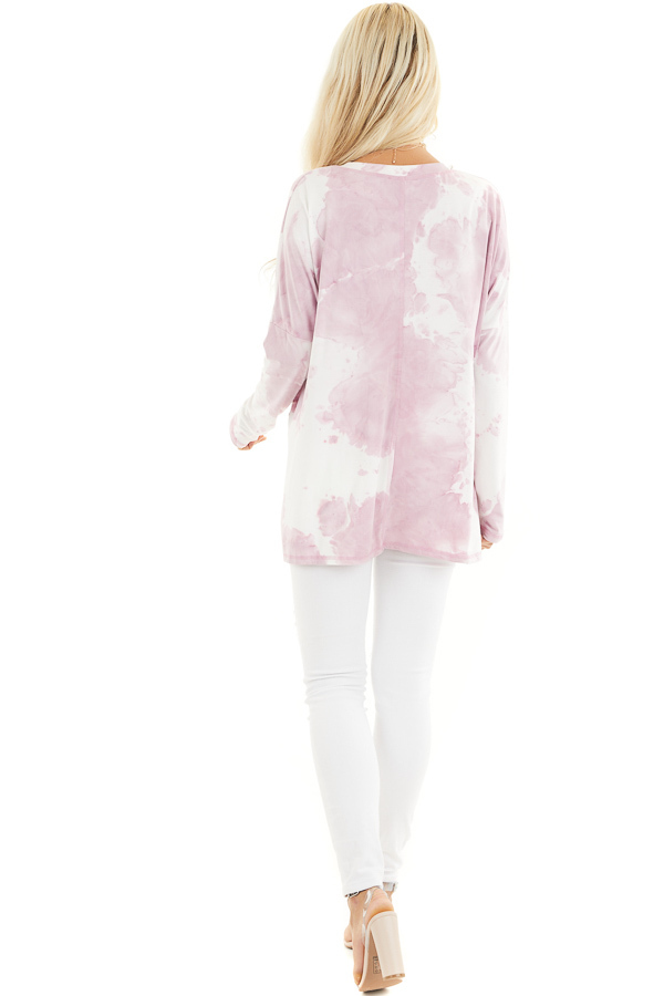 Dusty Blush Tie Dye Long Sleeve Knit Top with Front Pocket back full body