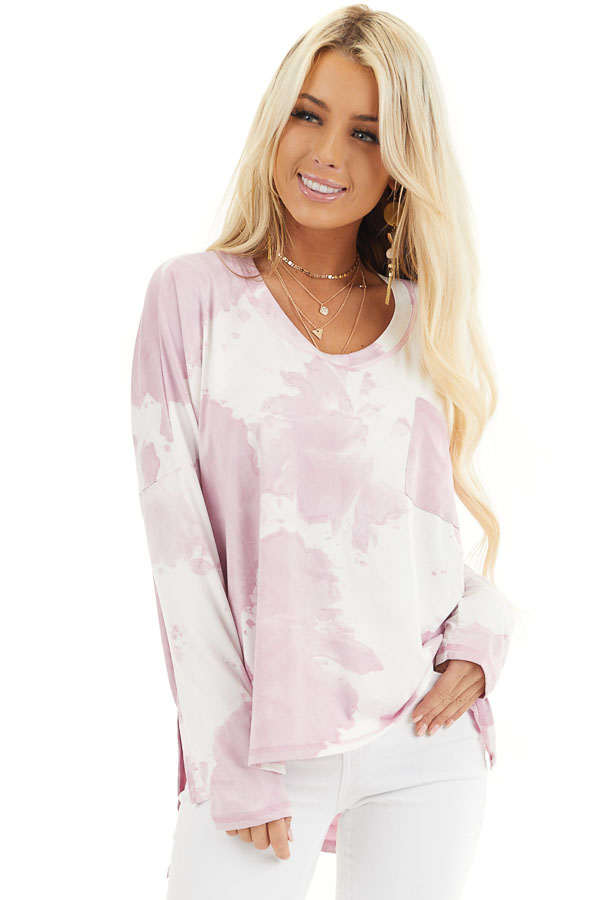 Dusty Blush Tie Dye Long Sleeve Knit Top with Front Pocket front close up