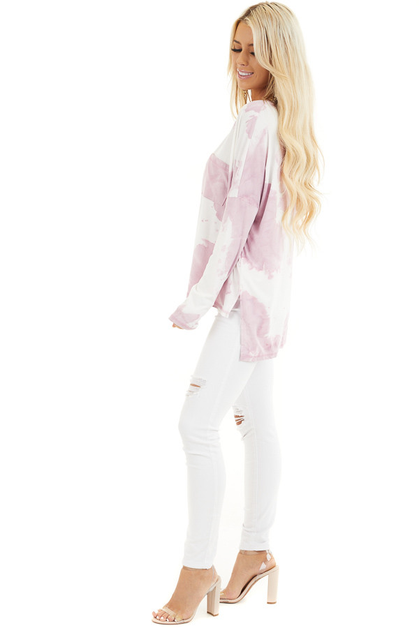 Dusty Blush Tie Dye Long Sleeve Knit Top with Front Pocket side full body