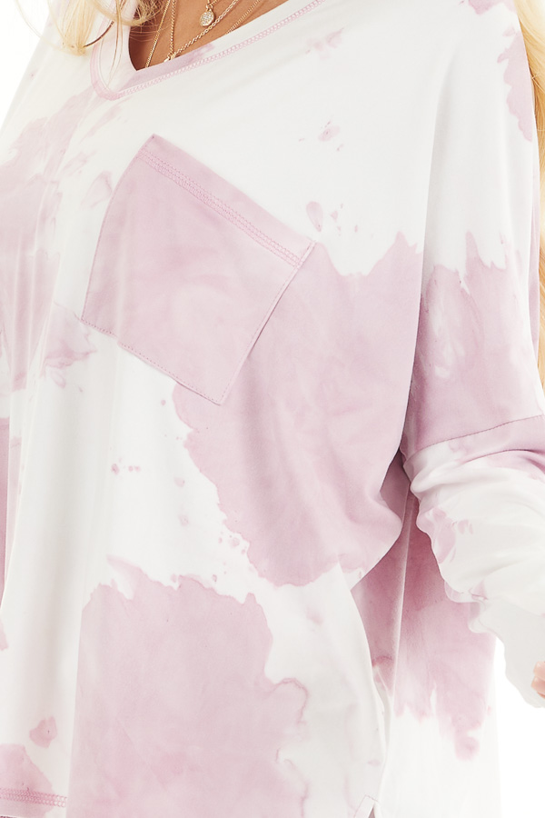 Dusty Blush Tie Dye Long Sleeve Knit Top with Front Pocket detail