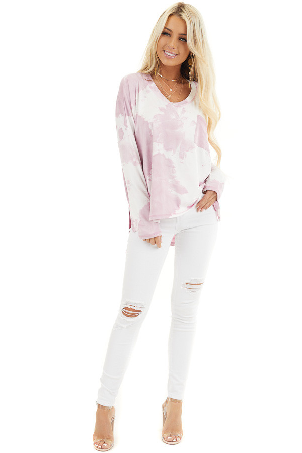 Dusty Blush Tie Dye Long Sleeve Knit Top with Front Pocket front full body