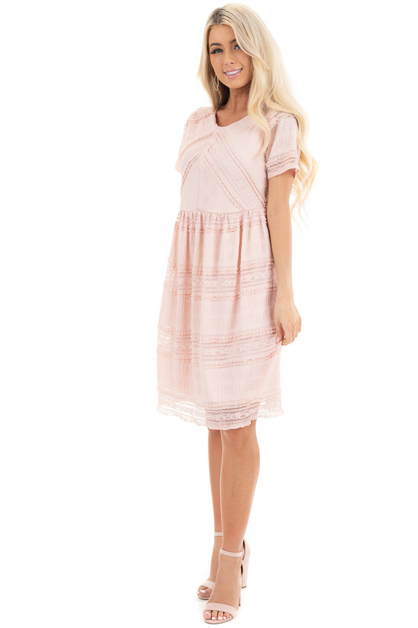 Peach Short Dress with Lace Details and Keyhole Back front full body