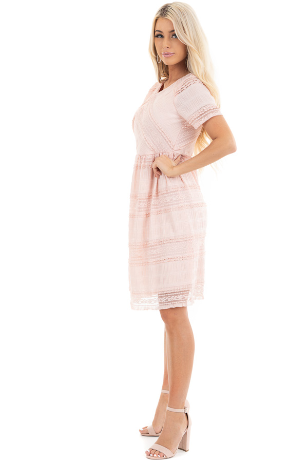 Peach Short Dress with Lace Details and Keyhole Back side full body