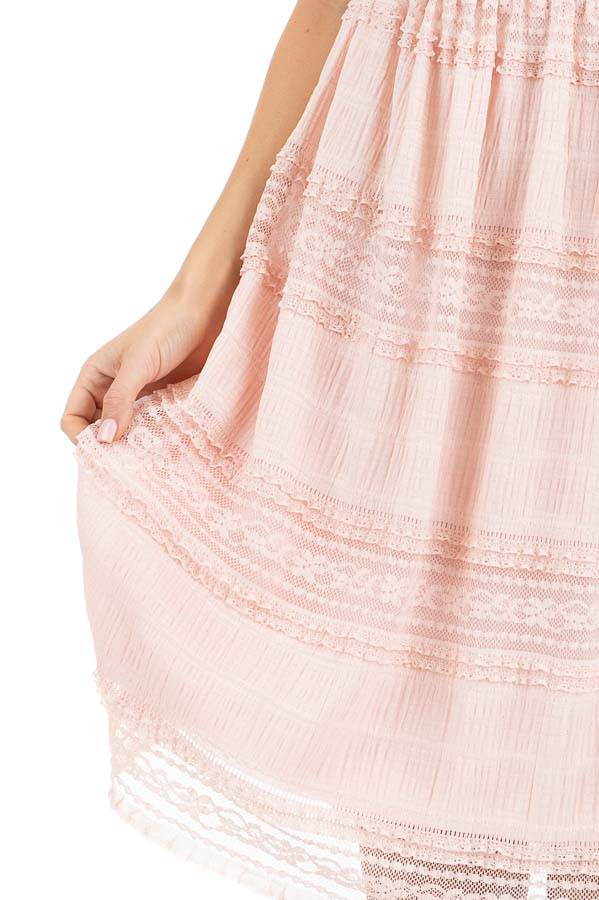 Peach Short Dress with Lace Details and Keyhole Back detail