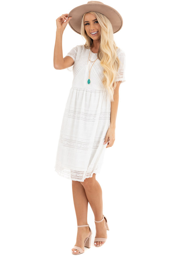 Pearl White Short Dress with Lace Details and Keyhole Back front full body