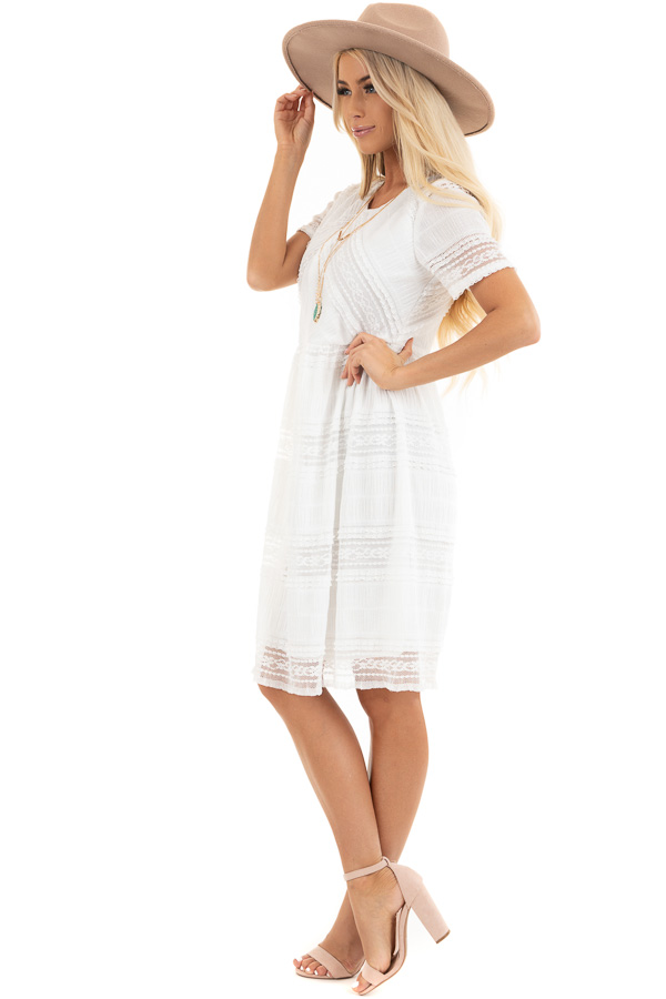 Pearl White Short Dress with Lace Details and Keyhole Back side full body