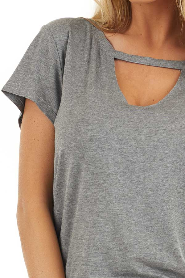 Stone Grey Short Sleeve Top with Front Cutout Detail detail